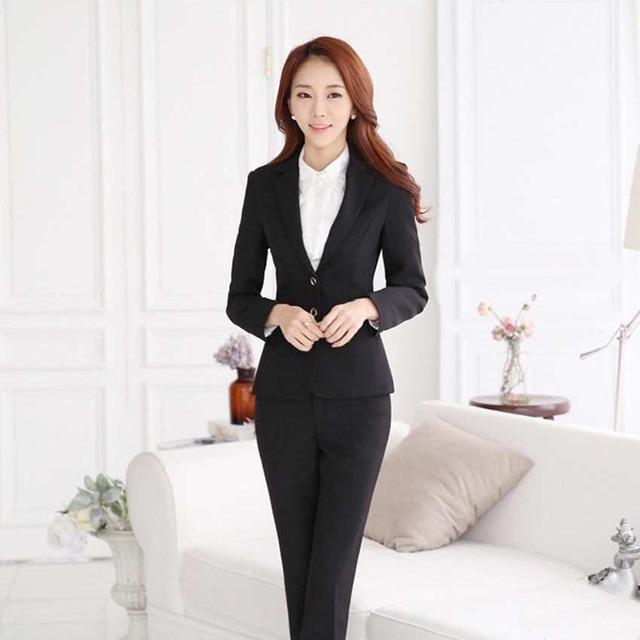 Werkkleding vrouwen belleza uniforme de algodón solo pecho diseño mujer conjunto pantalones de traje negro de algodón delgado elegante ropa de la señora 113