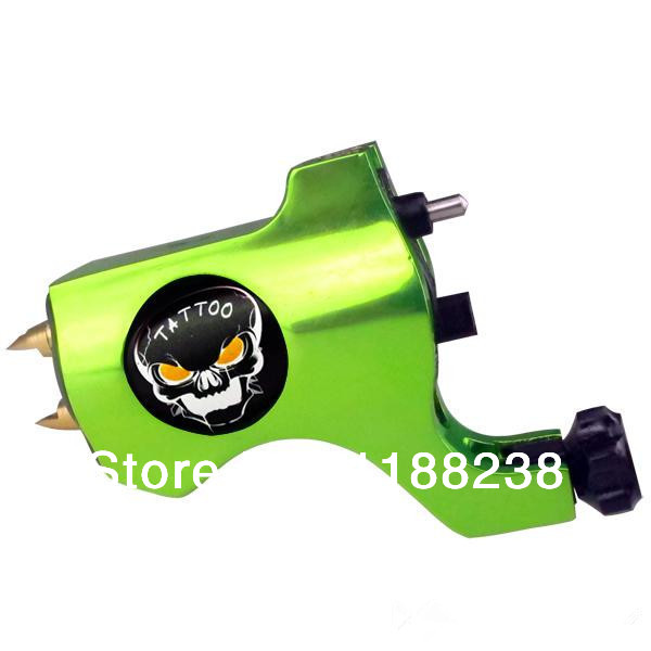 Professional Tattoo Trends Bishop Style Rotary Tattoo Machine Gun Tattoo Grip Yellowish Green  for Liner & Shader Ghost Head