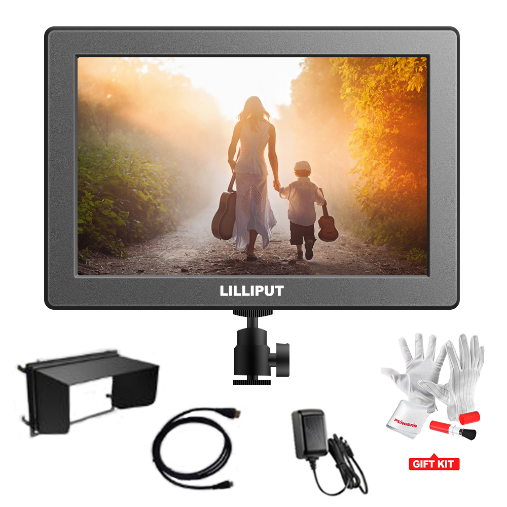 LILLIPUT A7 7 inch 1920*1200 Camera-top Monitor Full HD Resolution Screen with HDMI Input / Out+Shoe Mount+Sun shade+HDMI Cable lilliput tm 1018 o p 10 1 led ips full hd hdmi field touch screen camera monitor with hdmi input