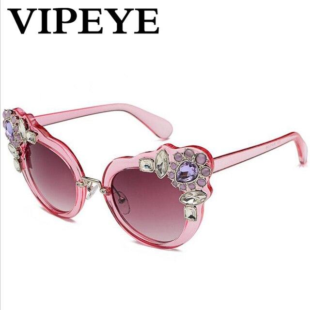 8eb5da6deb3 2019 Hot New Flowers Rhinestone Sunglasses Women Brand Designer Big Frame  Pink Cat Eye Sunglasses Woman Oculos De Sol Feminina