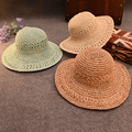 Handmade Straw Hat Children Sun Hat Solid Casual Sunscreen Folding Big Beach Hat Cap Summer Hats For Women Wide Brim Straw Hats