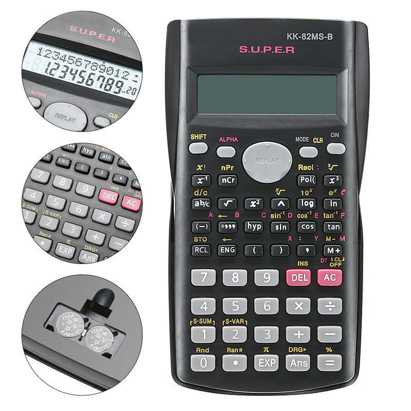 Håndholdt Students Scientific Calculator 2 Line Display 82MS-A Bærbar Multifunktionel Kalkulator til Matematikundervisning