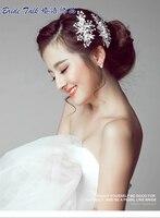 2pcs Set Simulated Pearls Bridal Leaves Hairpins Floral Wedding Accessories Rhinestone Crystal Bridesmaid Headpiece DYSYE06338