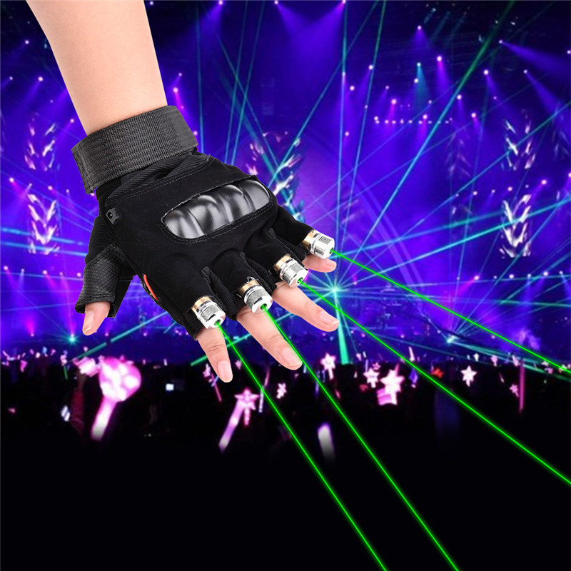1Pcs Red Green Laser Gloves Dancing Stage Show Stage Gloves Light With 4 Pcs Lasers And LED Palm Light For DJ Club/Party/Bars(China)