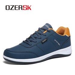 OZERSK 2019 Venda Quente de Outono Homens Sapatilhas Moda Masculina Sapatos Casuais de Couro Homem Sapatos Respirável Confortáveis Sapatos Leves
