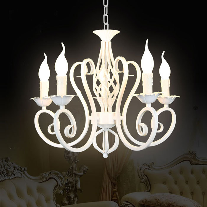 Free Shipping!Luxury Rustic Iron Crystal Chandelier Vintage Antique White Chain Pendant Lamp Home Price 5*E14 LED Light free shipping pendant lights rustic white candle iron 3 5 6 white lamps foyer pendant light restaurant dining pendant lamp