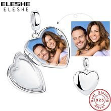 ELESHE Free Custom Photo 925 Sterling Silver Charm Bead Fit Bracelet Necklace DIY Heart Shape Personalized Jewelry Gift(China)
