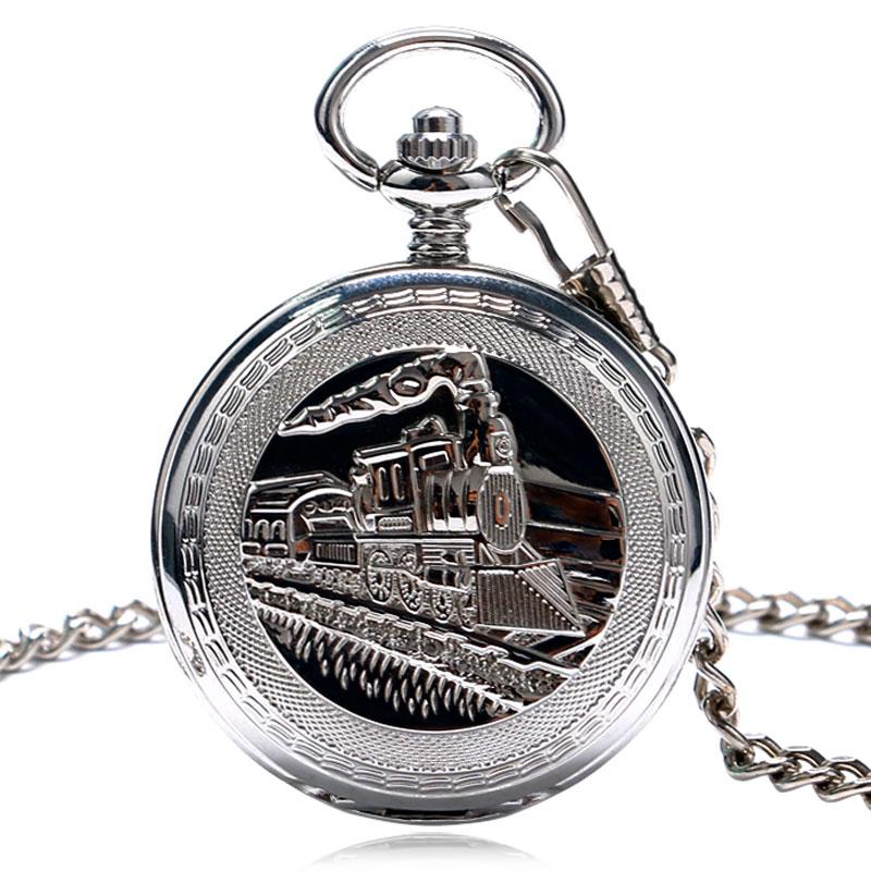 Vintage Pocket Watch Silver Unique Women Pendant Mechanical Hand Wind FOB Double Hunter Chain Railway Men Trendy Clock P1035C