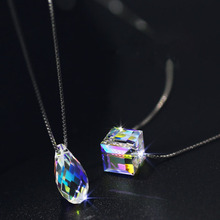S925 pure silver chain necklace clavicle droplets three-dimensional rubiks cube of sugar crystal pendant