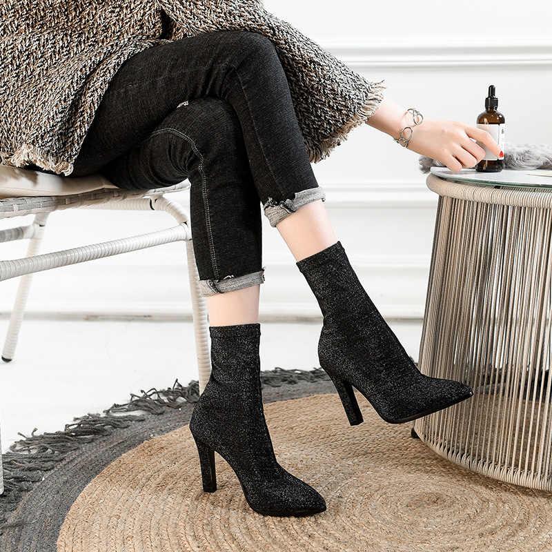 ISNOM Neueste Modell Sexy Frau Socke Boot Dame High Heels Ankle Boot Spitze Zehen Weibliche Herbst Schuhe Frauen Schuh Große größe 34-43