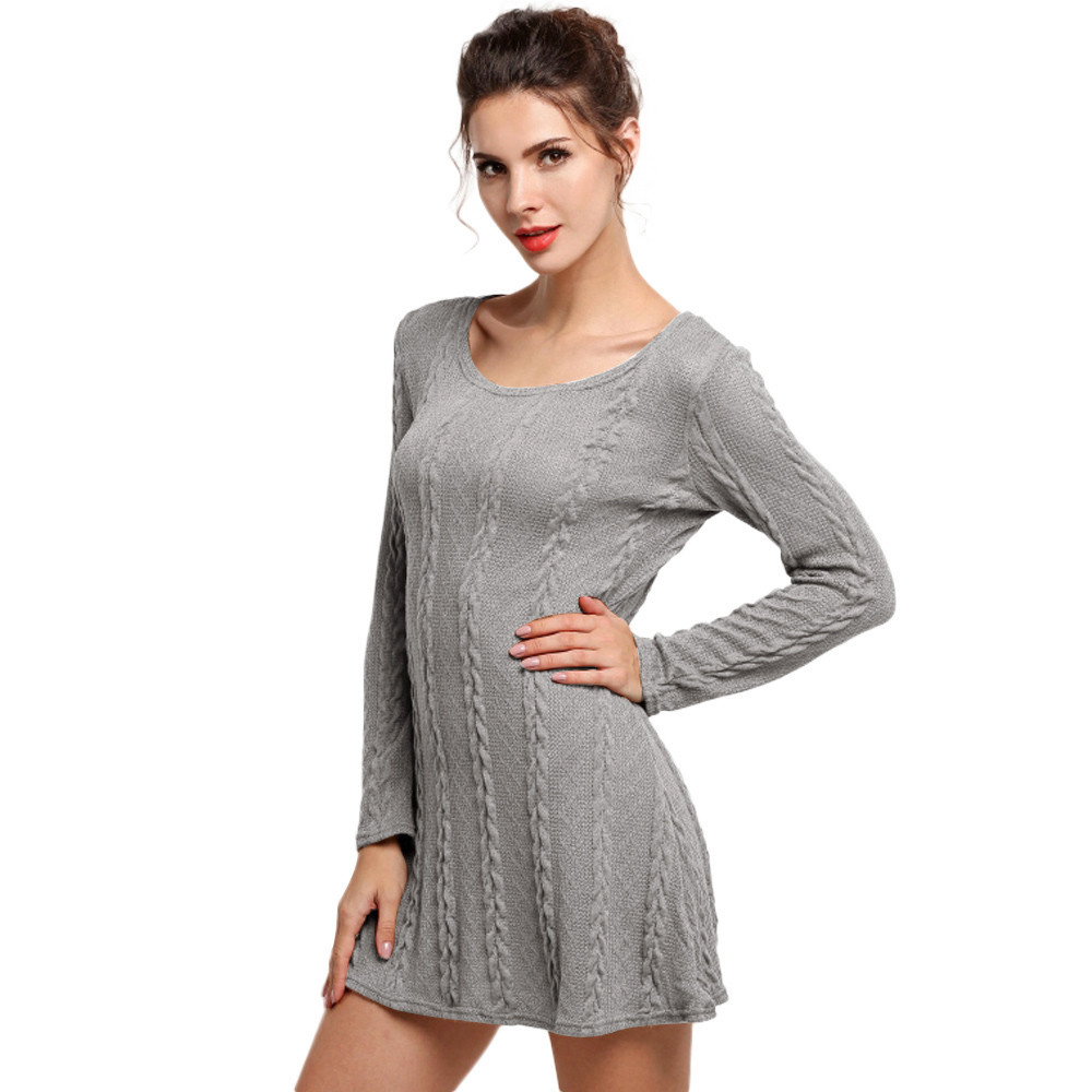 Feitong Autumn Dress For Women Ladies Solid Long Crewneck Jumper Slim Casual Knitted Sweater Mini Vestido De Festa 2017 Sexy
