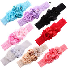 цены Lace Baby Headband Chic Lace Flower Baby Girls Newborn Infant Toddler Headwear Hair Bow Headdress Children Hair Accessories