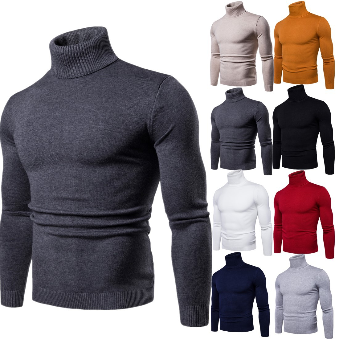 FAVOCENT Winter Warm Turtleneck Sweater Men Fashion Solid Knitted Mens Sweaters 2018 Casual Male Double Collar Slim Fit Pullover image