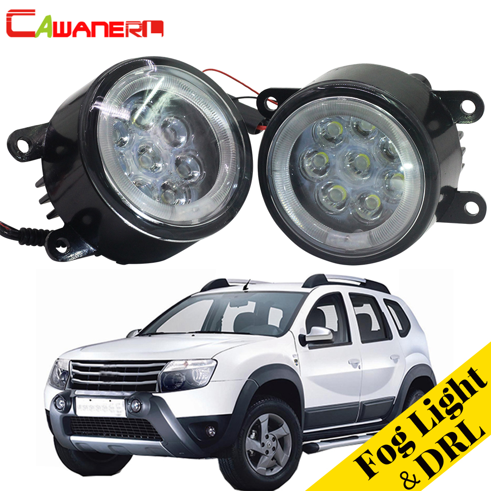 Cawanerl For Dacia Duster Closed Off-Road Vehicle 2010-2015 Car Fog Light LED Angel Eye Daytime Running Light DRL 12V 2 Pieces