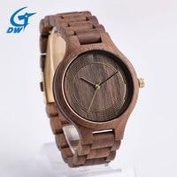 Fashion Classic Japan Movt Black Walnut Wood Watch Quartz Women Luxury Men Wirst Watch Solid Wooden