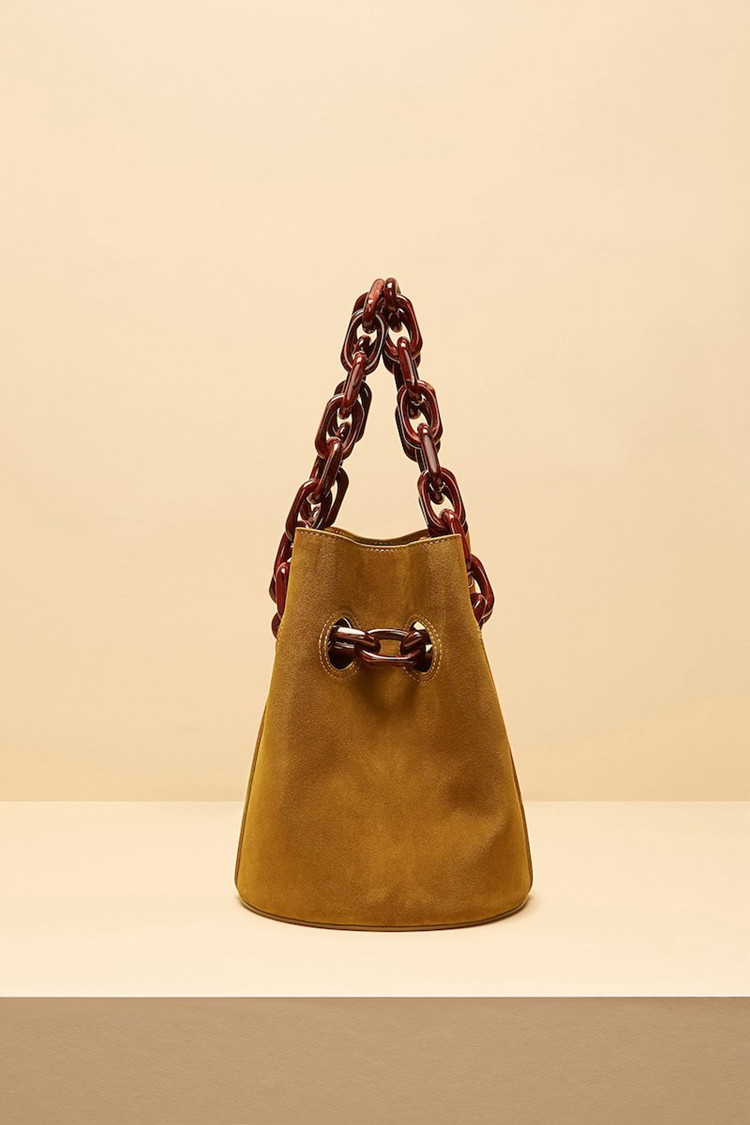 Acrylic Chains Bucket Bag Women Totes Handbag Fall Winter Luxury Leather Crossbody Bag Brown Coffee