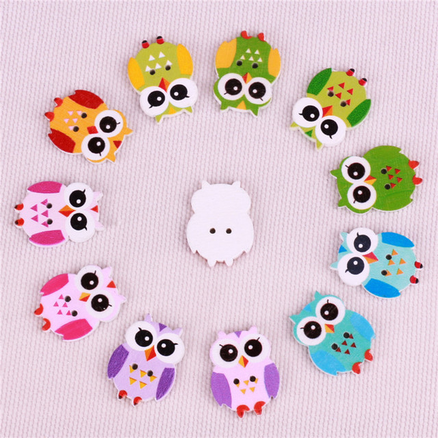 Cute owl animal pattern sewing decorative buttons nature color ...