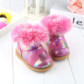 Baby shoes 2017 winter new Korean baby girls snow boots real fur large cotton toddler shoes soft bottom first walkers