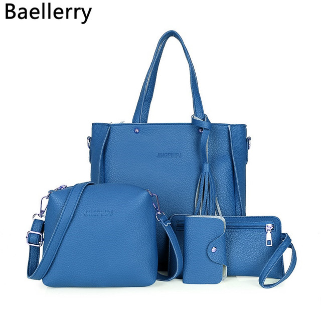 ef6e117ce298 4pcs set Women Ladies Leather Handbag Shoulder Tote Purse Satchel Messenger  Bag Tassels Cross body