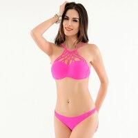 Fashion Swimsuit Solid High Neck Bikini Halter Top Bandage Bottom Sexy Siwmwear Female Summer Style Bathing