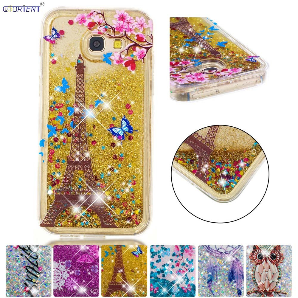 Half-wrapped Case Bling Case For Samsung Galaxy A5 2017 Glitter Stars Dynamic Liquid Quicksand Tpu Cover Sm-a520f/ds Sm-a520x Sm-a520f Phone Funda Phone Bags & Cases