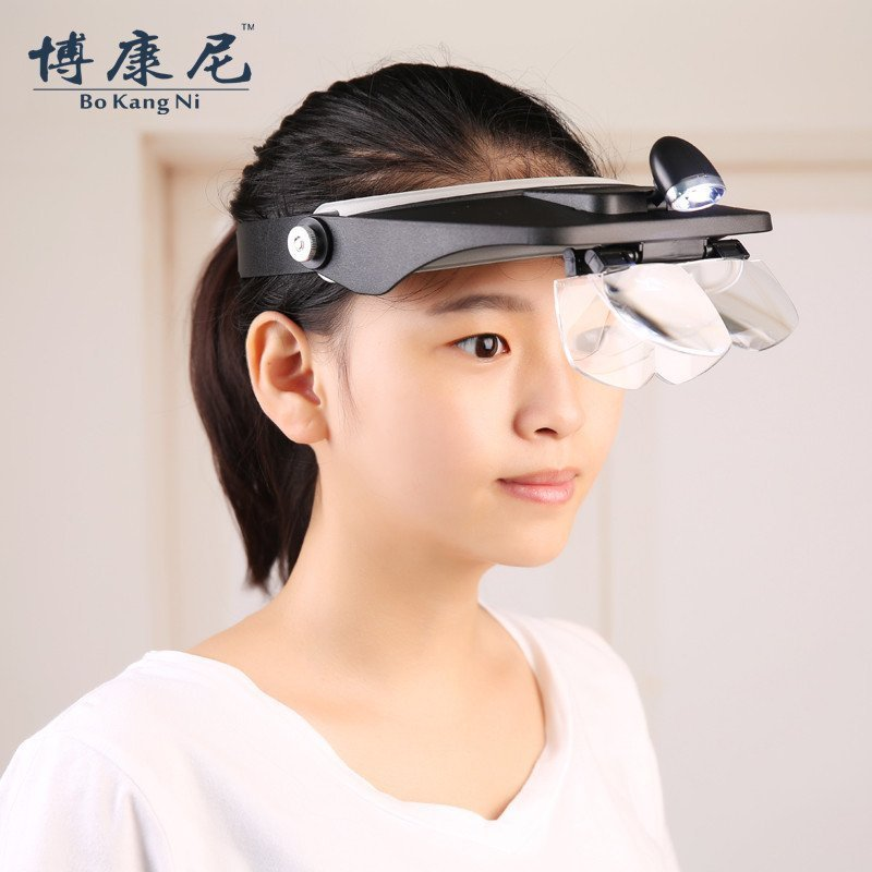 Four Lens Head Wearing Magnifier With Light 1.2X,1.8X,2.5X,3.5X Head Magnifying Glass For Reading Jewelry Tools