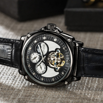 TIME100 - Mechanical Watch Double Time Zone - Self-wind Skeleton Watches