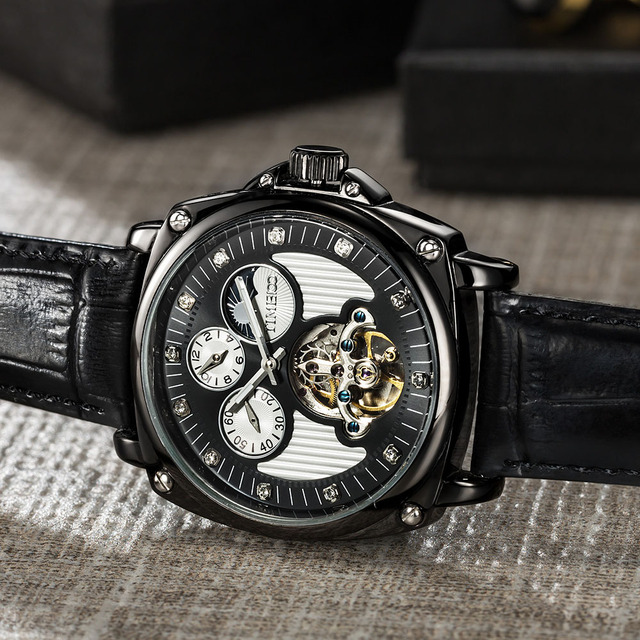 Mechanical Double Time Zone Automatic Self-Wind Skeleton Watch