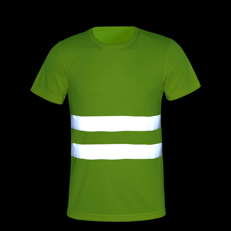 CCGK Safety Clothing Reflective High Visibility Tops Tee Quick Drying Short Sleeve Working Clothes Fluorescent Yellow Workwear
