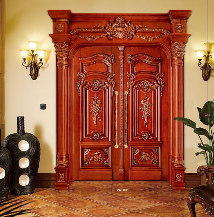 2019 New Design Swing Doors Interior Solid Wood Doors Antique Wooden Entry Doors