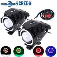 2pcs Motorcycle LED Headlight With Switch CREE U7 125W 3000LM Devil Angel Eye Fog DRL Daytime