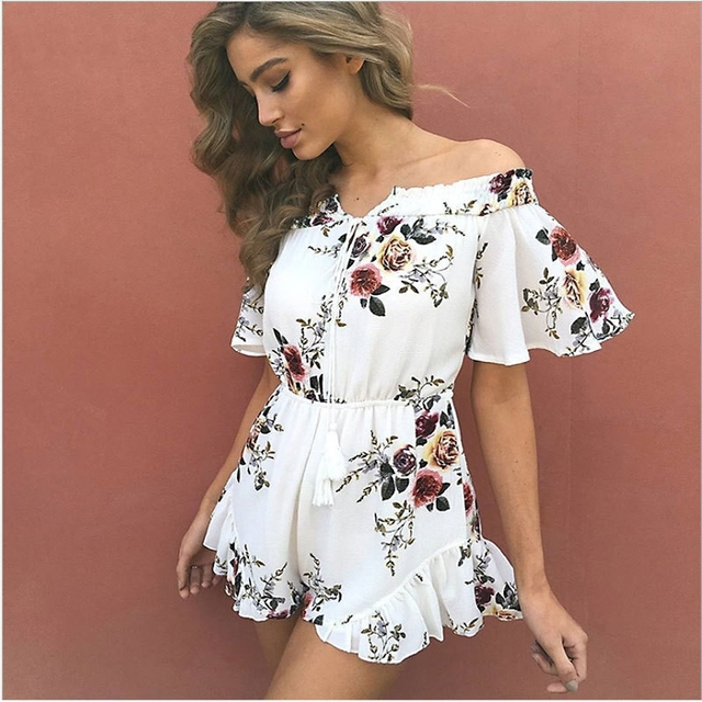 626a9feef0e4 Liva Girl Women Floral Playsuit Summer Off Shoulder Print Chiffon Jumpsuit  Rompers Tassel Flare Sleeve Boot Cut Overalls Leotard