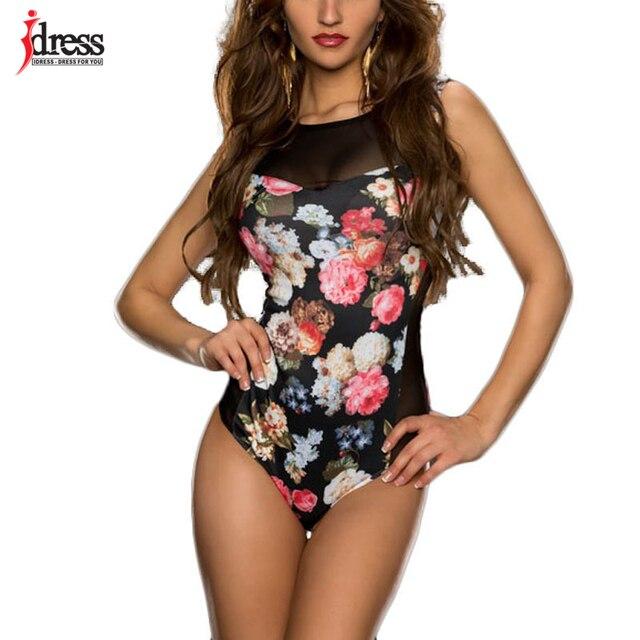 IDress mujeres nuevos Bodysuits flor estampado Sexy Club monos de manga corta Bodycon elástico vaina mono monos para mujeres
