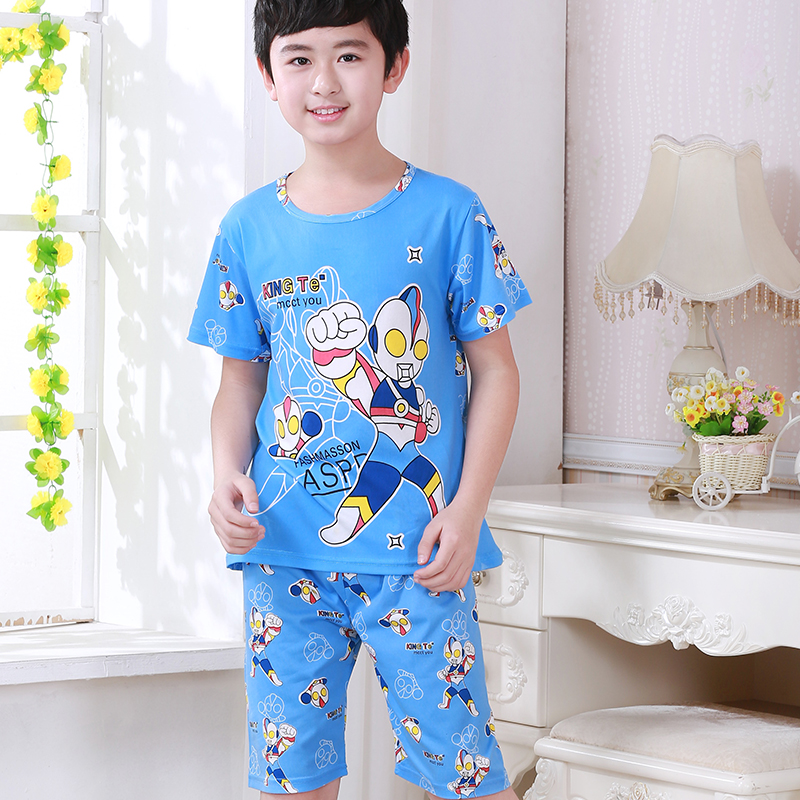 Pajamas-Set Short-Sleeved Home-Clothes-Set Children Clothing Girls Baby Boys Kids