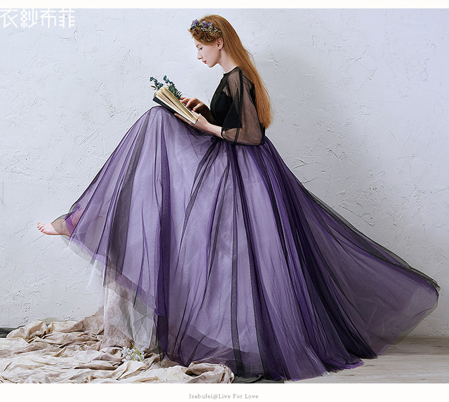 Plain Black Veil Purple Ball Gown Medieval Dress Sissi Princess