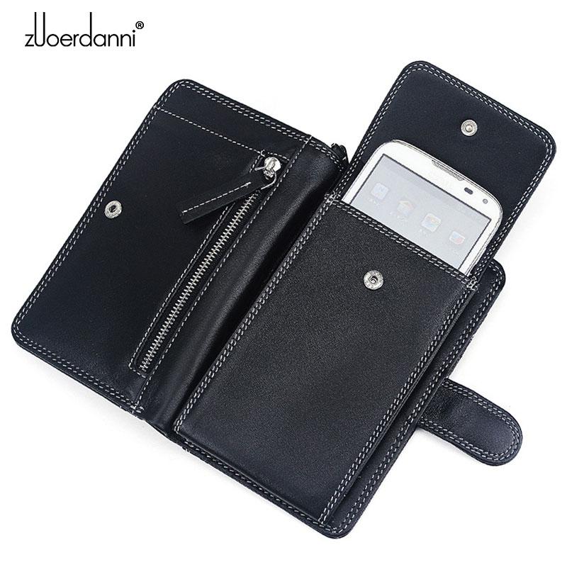 2016 Hot Sale Men Genuine Leather Bag Men Leather Universal Zipper Wallet cell Phone Case Long Messenger Bags ZEDN A236 universal nylon cell phone holster blue black size l
