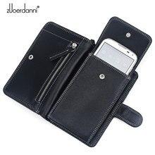 2016 Hot Sale Men Genuine Leather Bag Men Leather Universal Zipper Wallet cell Phone Case Long Messenger Bags ZEDN A236