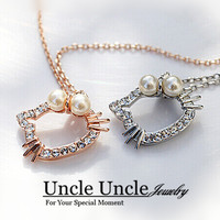 FREE SHIPPING 18K Gold Plated Artificial Pearl And Rhinestone Inlaid Cute Hello Kitty Design Lady Pendant