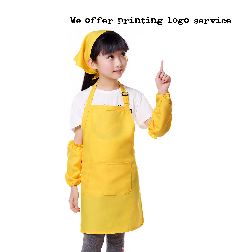 Cute Kids Aprons Child Children Cooking Backing Aprons Draw Studio Kindergarten Adjustable Strap Aprons Custom Logo Gift Bibs
