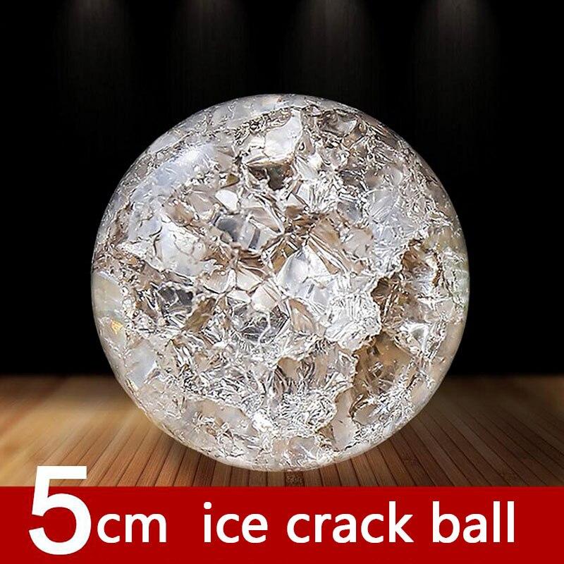 50mm Cristal Glace Fissure Boule De Verre De Quartz Marbres Magique Sphère Fengshui Ornements Fontaine D'eau Bonsaï Balle Décor À La Maison Ornements