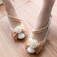 Pearl Rhinestone Bridesmaid Low-Heeled Shoes coffee Lace Bow soft outsole handmade Wedding Shoes Female Pumps Free Shipping
