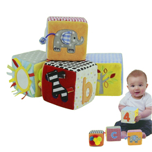 New Baby Blocks Toy 8.5 cm Soft Play Cubes Cloth Plush Building Blocks Early Educational Toy Colorful Baby Rattles Set