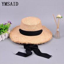 Ymsaid Moda Mulheres Chapéus de Verão Grande Chapéu de Palha de Ráfia Fita  Rendas Rendas- 16cb909e625