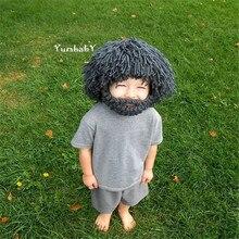 New 2018 Wig Beard Children Hats Handmade Knit Creative Wildman Caps Warm Autumn Winter Hat For Kids Funny Party Mask Beanies