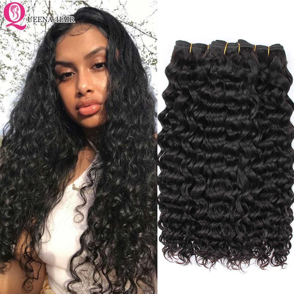 Cheap Natural Water Wave 3/4 Bundles 100% Raw Remy Human Hair Extensions Malaysian Hair Wavy Weave Bundles Queena Hair Vendor