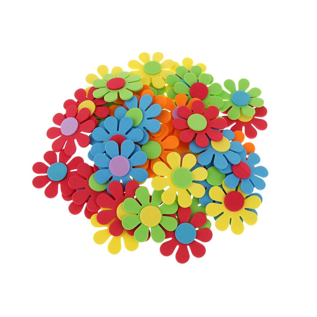 50pcs Mixed Foam Flower Shapes Kids Children Decoration Crafting DIY Wedding Favor Kids Gift Supply for Scrapbook