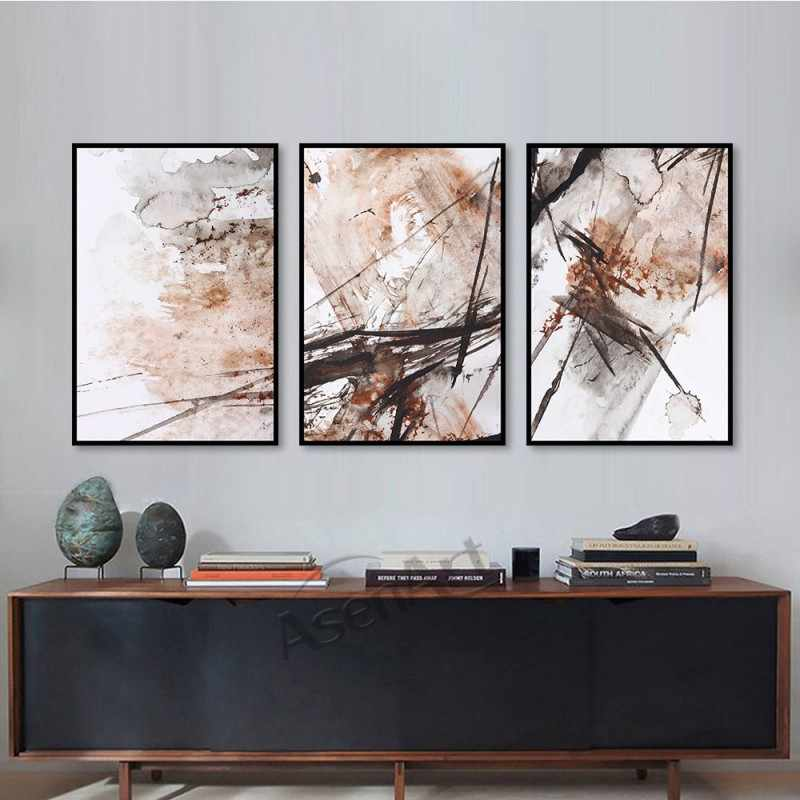 Nordic Poster Abstract Lines Modern Pictures Canvas Oil Wall Watercolor Print Art Painting for Living Room Office Home Decor