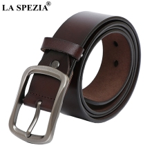 LA SPEZIA Classic Pin Belt Male Genuine Leather Cowhide Buckles For Men Brown Real Vintage Square Buckle 130cm