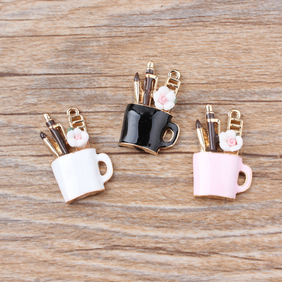 MRHUANG 10pcs/lot  Gold-colour Enamel Charms Make Up Tool For Braclets Jewelry Finding DIY Craft