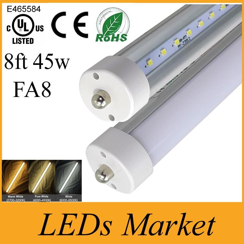 Us 1065 0 8 Feet Led 8ft Single Pin T8 Fa8 Single Pin Led Tube Lights 45w 4500lm Led Fluorescent Tube Lamps Ac85 265v Ul Cul Ce In Led Bulbs Tubes